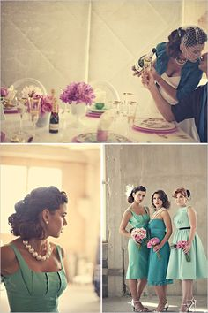 teal bridesmaid dresses - love these.