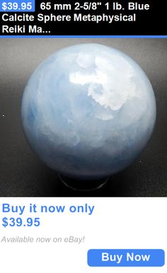 collectibles: 65 Mm 2-5/8 1 Lb. Blue Calcite Sphere Metaphysical Reiki Madagascar W/Stand A4 BUY IT NOW ONLY: $39.95