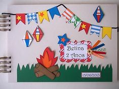 Álbum de fotos com tema de festa junina Kindergarten, Scrapbook, Tapestry, Education, How To Make, Art Classroom, School Supplies, Murals, Pictures
