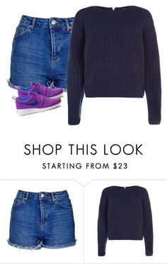 """""""Untitled #4685"""" by xoxominyeol ❤ liked on Polyvore featuring Topshop and NIKE"""