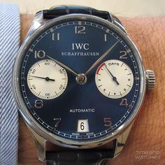 A close-up of the IWC Portuguese Automatic Laureus edition. 7-day power reserve and Pellaton automatic winding.