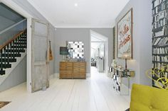 4 bedroom terraced house for sale in Broxash Road, London, Living Room Kitchen, My Living Room, Living Spaces, Dining Room, Interior Design London, Grey Interior Design, Appartement F3, White Floorboards, Victorian Terrace House