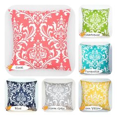 Modern Pillow Cover, Custom pillow cover, Osborne pillow cover,damask pillow, blue, coral, green, black, brown, red, yellow, grey on Etsy, $19.00
