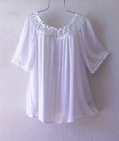 NEW~Fresh White Crochet Lace Trim Peasant Blouse Shirt Boho Plus Top~18/20/1X Sewing Paterns, Dress Neck Designs, Mode Hijab, Short Tops, Peasant Blouse, Lace Tops, Crochet Lace, Shirt Blouses, Girl Outfits