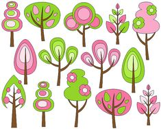 Retro Trees Clip Art Spring Trees Digital Clip Art by YarkoDesign