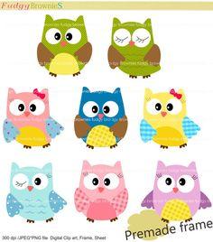 Digital clip art  set  Owls clip art for by fudgybrownies on Etsy
