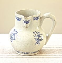 Vintage French Ceramic Stoneware Water Pitcher by Beyond The Brocante on Gourmly