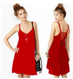 V-neck backless pure color dress that snow spins condole