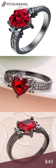 18kt BlackGold FILLED over SS Ruby/White Sapphire 18kt BlackGold FILLED over 925 Sterling Silver Ruby Heart with White Sapphire sides. Size 8 Jewelry Rings