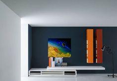 colorful living room, decor, for sale, canvas print Office Interior Design, Home Office Decor, Office Interiors, Home Decor, Blue Living Room Decor, Colourful Living Room, Cosmos, Cool Office Space, Wall Decor