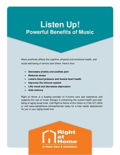 #AnnArbor #ElderlyCare Tip: The Health Benefits of Music. For more information, visit the Right at Home of Ann Arbor Senior Care Blog at http://www.rightathome.net/washtenaw/blog/ann-arbor-senior-care-tip-music-has-a-positive-impact-on-health/. #musictherapy #seniorhealth