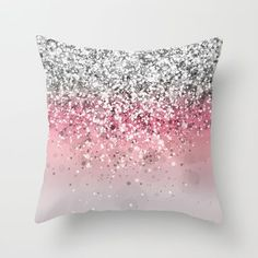 Ombre sparkle pillow white - pink - gold #ForTheHome