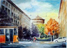 """"""" scorcio del Castello ,Milano """" acquerello di Lorenza Pasquali  N.D. cm. 46x61 www.lorenzapasquali.it"""
