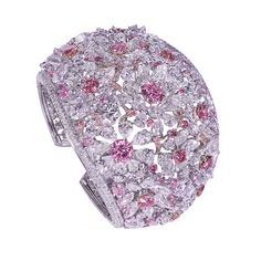 Moussaieff Ppnk and white Diamond floral cuff bracelet. Diamond Bangle, Diamond Jewelry, Sterling Necklaces, High Jewelry, Jewellery Box, Contemporary Jewellery, Pink Sapphire, Colored Diamonds, Handcrafted Jewelry