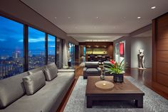 Luxurious modern apartment with skyline view over the city buildings