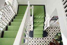 Roger Oates New Hadley Lime stair runner carpet with mitred landing fitted to dark oak staircase Neutral Carpet, Dark Carpet, Green Carpet, Beige Carpet, Patterned Carpet, Modern Carpet, Carpet Colors, Wool Carpet, Carpet Stairs