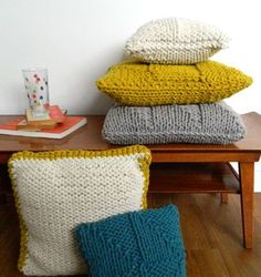 Chunky Hand Knitted Lambswool Cushion by High Fibre Design, the perfect gift for Explore more unique gifts in our curated marketplace. Hand Knitting, Knit Crochet, Unique Gifts, Fiber, Cushions, Throw Pillows, Blanket, Design, Products