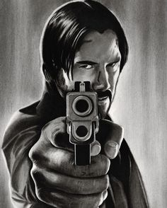 """10.1k Likes, 112 Comments - Cory (@_bluecrayon) on Instagram: """"John Wick!  Arches watercolor block—carbon pencils. 13 hours."""""""