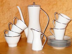 Vintage German Demitasse Set Mid Century Bavarian Cream Sugar Cups Coffee Pot