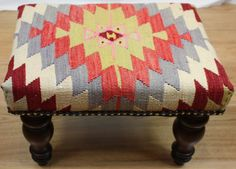 Beautiful Traditional Antique Handmade Kilim Footstool by Rugstore