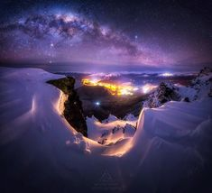 Milky Way Panorama shot near the top of The Remarkables in Queenstown, New Zealand