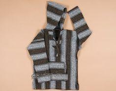 Soft Woven Baja Shirt Hoodie -Brown Large (b3b)