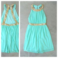 Mint Grecian Dress with glittering gold sequin details.
