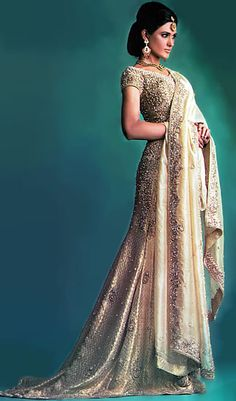 medium champagne Indian lengha wedding dress