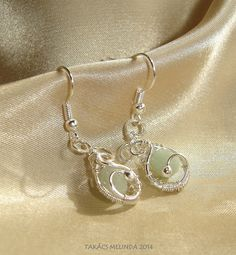 silver wire earrings with faceted aventurine