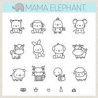 Mama Elephant Clear Stamp - Lunar Animals