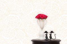hydrangea wallpaper // white and cream