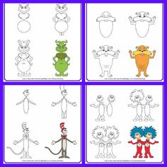 How to draw Dr Seuss characters // Dr. Seuss illustrators studio dramatic play