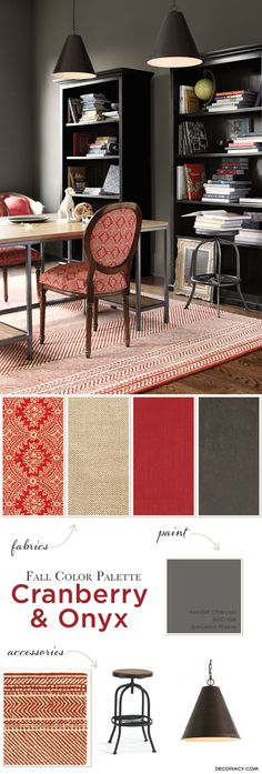 Fall Color Palette: Cranberry & Onyx - http://www.decoracy.com/interior-decor/fall-color-palette-cranberry-onyx.html