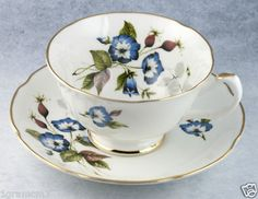 Collectible Tea Cups | Vintage Royal Grafton Blue Floral Bone China Tea Cup and Saucer Made ...