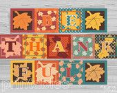 Be Thankful Banner Printable , Thanksgiving decor, party bunting, 7 in squares, family photo prop, digital download, ready to print PDF file