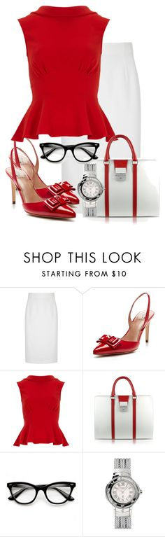 """""""Red and White workwear"""" by cavell ❤ liked on Polyvore featuring Alexander McQueen, Ava & Aiden, Closet, Pineider, Retrò and Charriol"""