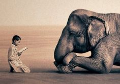 Hindu child and reverent elephant