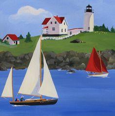 "Acrylic Painting of Cape Neddick (""Nubble"") Light in York, Maine"