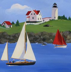 Nubble Light, Lighthouse Paintings, Sailboat Paintings, by Cathryn Hatfield