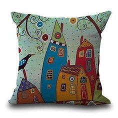 """Miracille Square 18"""" Abstract Building And Tree Printed Cartoon Sofa Throw Cushions Living Room Decorative Pillows No Filling"""