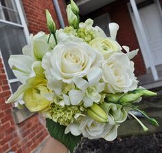 white hydrangea with seed eucalyptus | ... groom's boutonniere (cream-green ranunculus with seeded eucalyptus