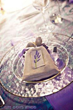 Place setting at a Greek Lavender Wedding #wedding #lavender #heather wedding #purple wedding #jasmine #purple bridesmaid #twobirds #wedding inspiration