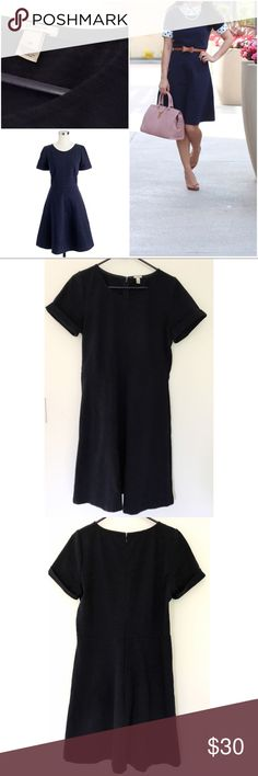 "EUC J. crew NAVY BLUE Ponte Swing Dress In excellent pre-loved J. Crew swing dress in size 12. Almost t-shirt like dress with rolled up sleeves. Really flattering. In navy blue color. Measure about 38"" length, 19"" pit to put, 16"" waist, 8"" sleeves. Hidden back zipper. No flaws. ❌No trades or modeling. Open to reasonable offers. Thank you‼️ J. Crew Dresses Mini"