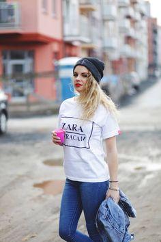 """Red Master Clothes Koszulka, t-shirt z napisem """"ZARA WRACAM """" biała"""