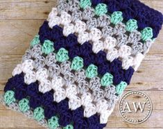 Baby Blanket Crochet - Baby Blanket Boy - Nautical Blanket Boy - Nursery Blanket - Stroller Blanket - Baby Shower - Navy Mint Grey White