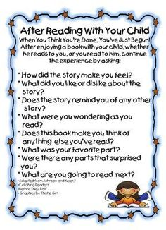 great letter to send home to help parents practice comprehension skills-laminate and put a magnet on the back so parents can put on their refrigerator for reference