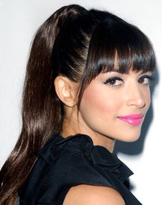 Hannah Simone's High Ponytail with Blunt Bangs | Party, Prom |Careforhair.co.uk