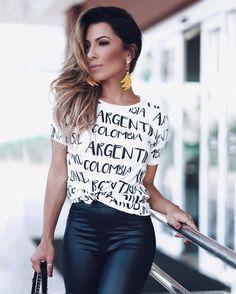looksly - Thaylise Ferreira com camiseta com nome de países do Verão 2017. Perfeita para quem ama viajar pela América Latina!