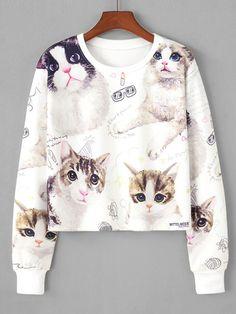 Sweatshirts by BORNTOWEAR. Cat Random Print Crop Sweatshirt