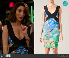 Delia's blue printed dress with side cutouts on Girlfriends Guide to Divorce.  Outfit Details: https://wornontv.net/54637/ #GG2D